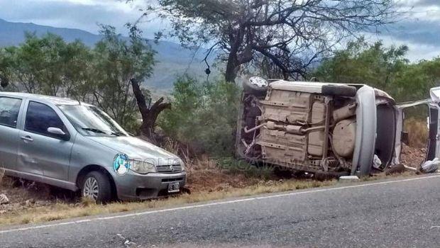 Seis heridos tras un choque y vuelco en la ruta 1