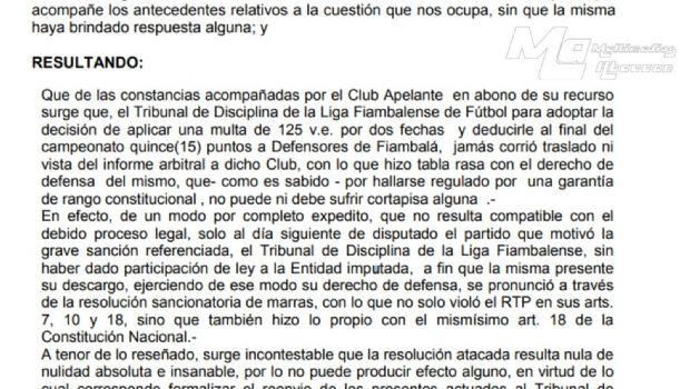 Duro fallo de la AFA contra la Liga Fiambalense de Fútbol
