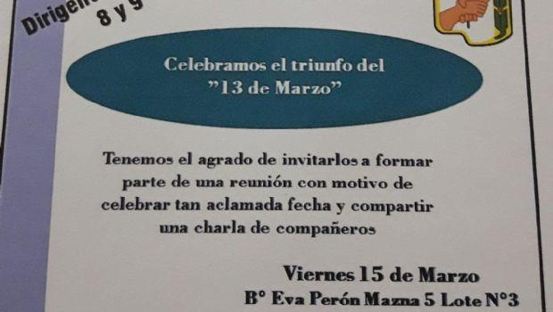 Festejo por el aniversario del triunfo del peronismo el 13 de marzo